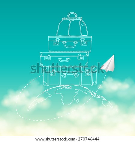 Vector illustration of flying paper plane around travel suitcases on planet sky with clouds background - stock vector