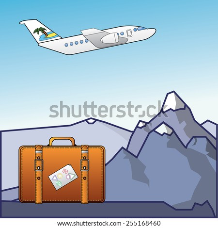 Vector illustration of flying plane and suitcase on mountains - stock vector
