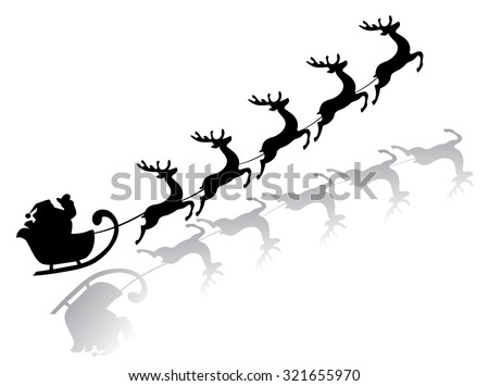 vector illustration of flying Santa Claus