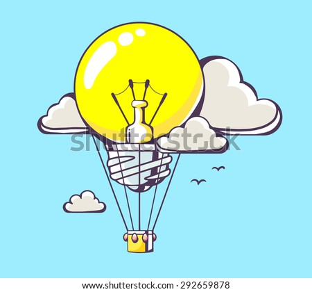 Vector illustration of flying yellow light bulb air balloon on blue background with clouds. Hand draw line art design for web, site, advertising, banner, poster, board and print.   - stock vector