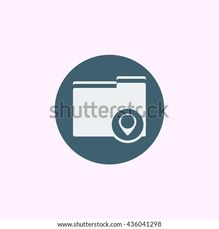 Vector illustration of folder location sign icon on blue circle background.