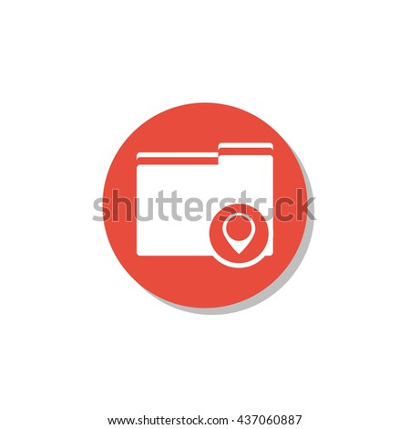 Vector illustration of folder location sign icon on red circle background.