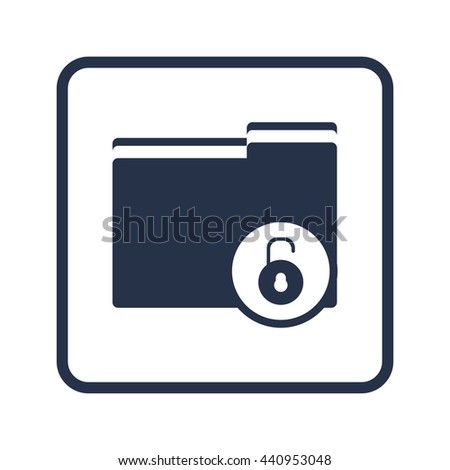Vector illustration of folder open sign icon on blue round background.
