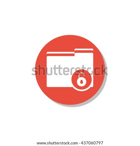 Vector illustration of folder open sign icon on red circle background.