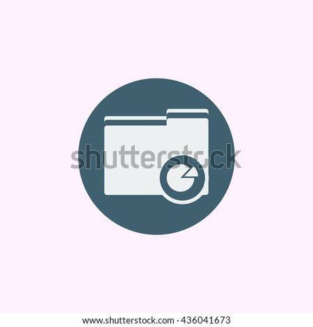 Vector illustration of folder pie graph sign icon on blue circle background.