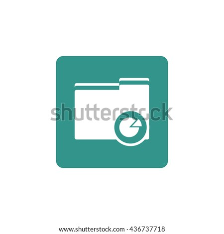 Vector illustration of folder pie graph sign icon on green background.