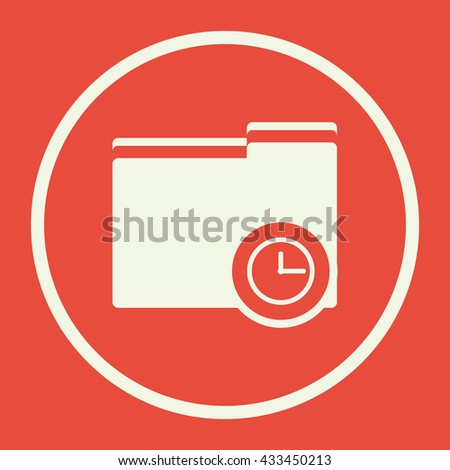 Vector illustration of folder time sign icon on red background.