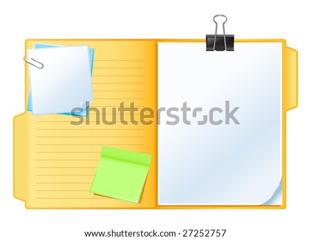 vector illustration of folder with papers - stock vector