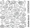 vector illustration of  food collection in black and white - stock vector