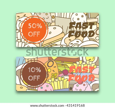 Vector illustration of Food discount coupon or banner or gift card  templates.