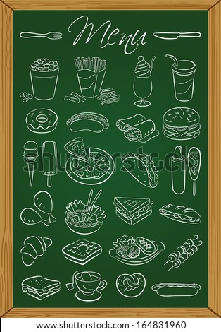 Vector illustration of food icons drawn on green chalkboard  - stock vector