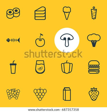 Vector Illustration Of 16 Food Icons. Editable Pack Of Berry, Fungus, Sundae And Other Elements.