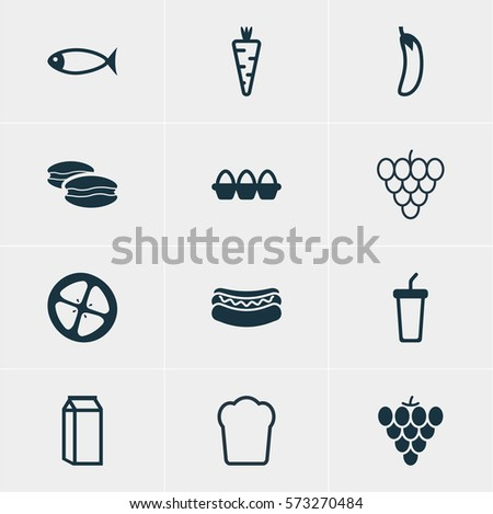 Vector Illustration Of 12 Food Icons. Editable Pack Of Loaf, Soft Drink, Milk And Other Elements.