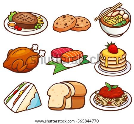 vector illustration food set stock vector hd royalty free rh shutterstock com vector footballs vector food icons