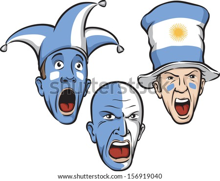 Vector illustration of football fans from Argentina. Easy-edit layered vector EPS10 file scalable to any size without quality loss. High resolution raster JPG file is included. - stock vector
