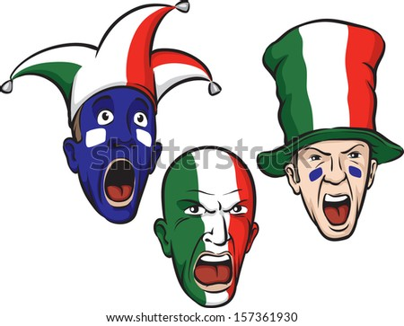 Vector illustration of football fans from Italy. Easy-edit layered vector EPS10 file scalable to any size without quality loss. High resolution raster JPG file is included. - stock vector