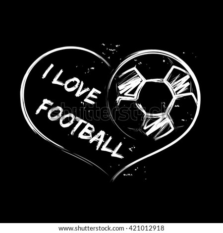 Vector illustration of football heart on black background for sports design.