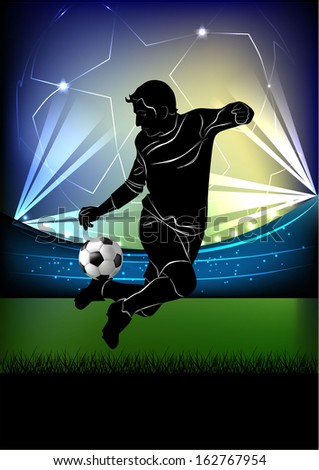 Vector illustration of football player dribbling the ball in jump silhouette over football stadium background.