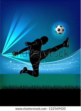 Vector illustration of football player kicking the ball in jump silhouette over football stadium background.