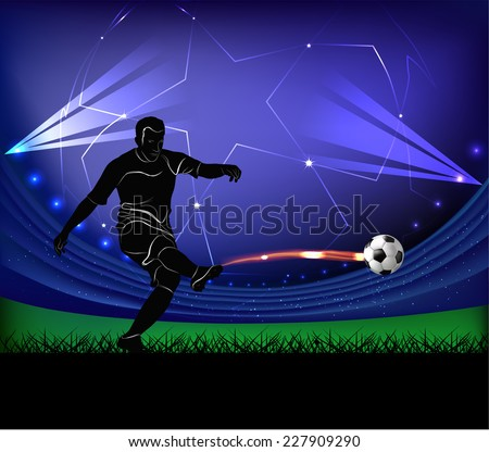 Vector illustration of football player silhouette kicking the ball over football stadium background. - stock vector