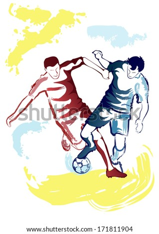 Vector illustration of football players struggling for ball - watercolor style. - stock vector