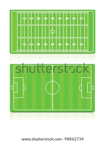 Vector illustration of Football (Soccer) and American Football fields with grass (noise) texture. - stock vector