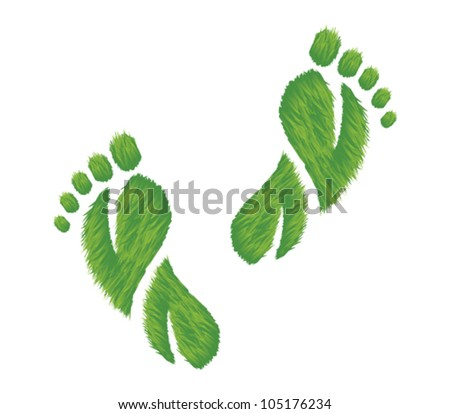 Vector illustration of footprints made of grass.  Represents an eco friendly concept. - stock vector