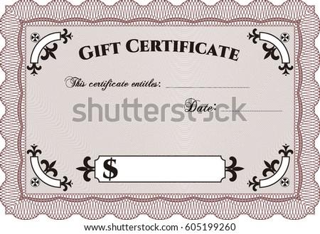 vector illustration formal gift certificate maroon stock vector