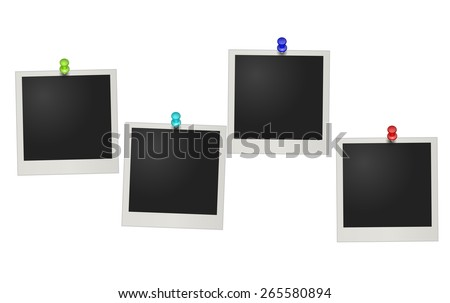 Vector illustration of four blank retro photo frames over white background - stock vector