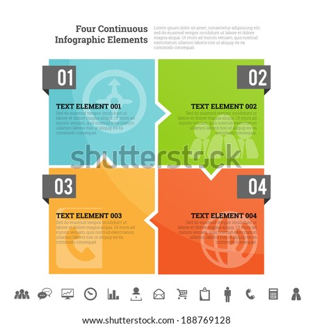 Vector illustration of four continuous infographic element. - stock vector