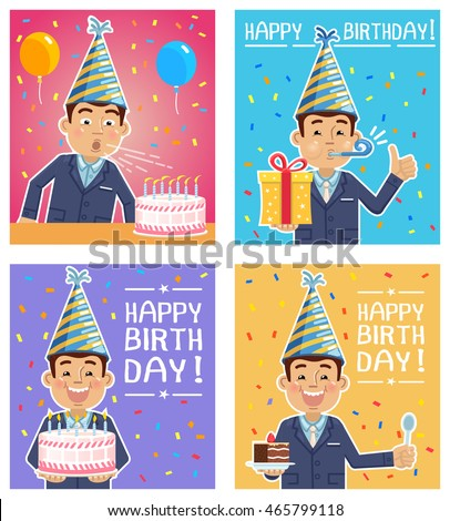 Vector illustration of four different birthday posters with a businessman