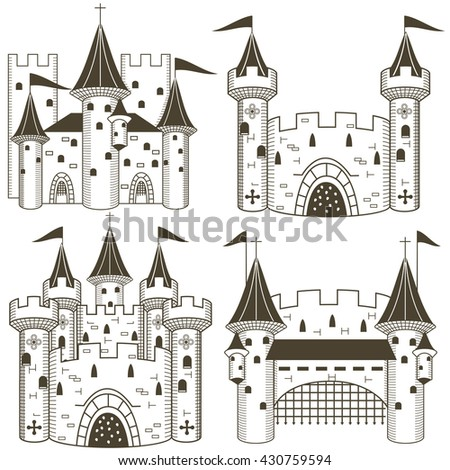Vector illustration of four different black castles. - stock vector