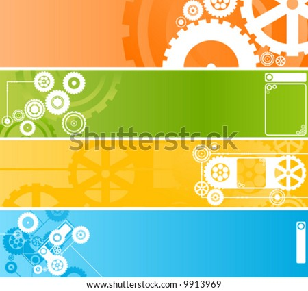 Vector illustration of four different technological and industrial web banners or backgrounds. Highly detailed in various colors. - stock vector