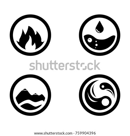 Vector Illustration Four Elements Icons Round Stock Vector 759904396