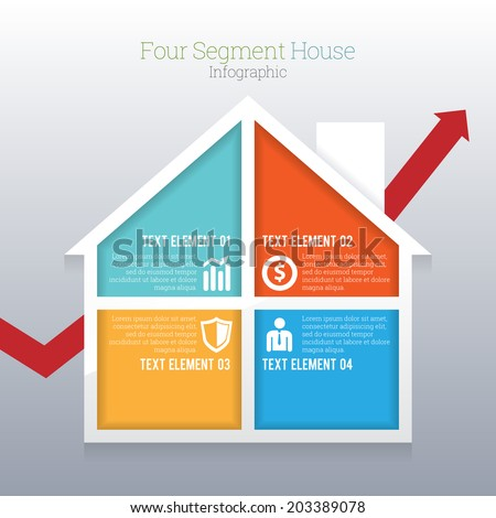 Vector illustration of four part segment house infographic. - stock vector