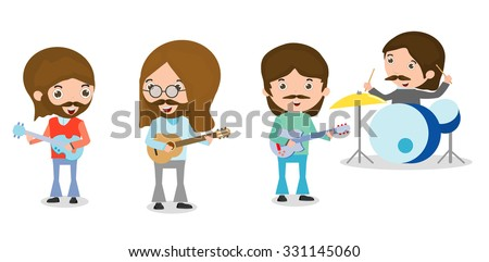 vector illustration of four people in a music band on white background, Person playing Musical Instruments,illustration of young playing different musical instruments,Vector Illustration - stock vector