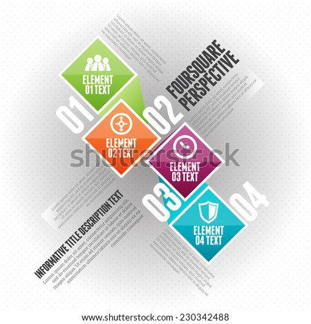 Vector illustration of four square perspective infographic design element. - stock vector