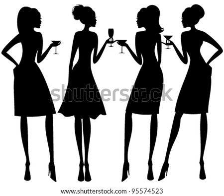 Vector illustration of four young elegant women at a cocktail party. Raster version also available. - stock vector