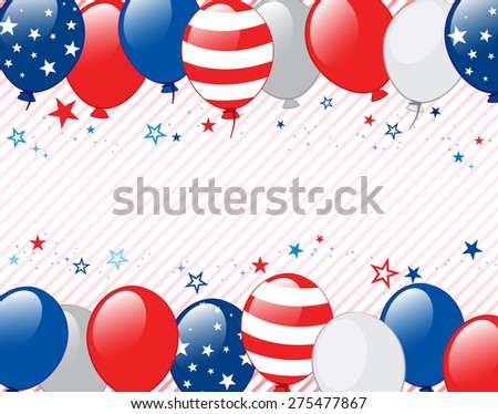 Vector illustration of Fourth of july background. Objects are layered.