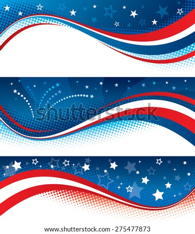 Vector illustration of fourth of july banners. Banners are layered, objects are logically grouped.