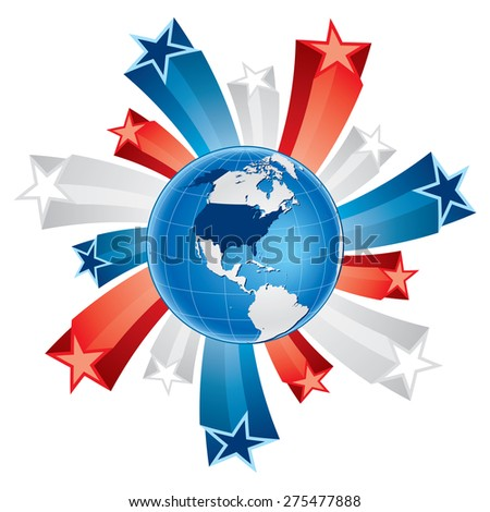 Vector illustration of fourth of july globe with 3d stars. Stars and globe are on separate layer.  - stock vector