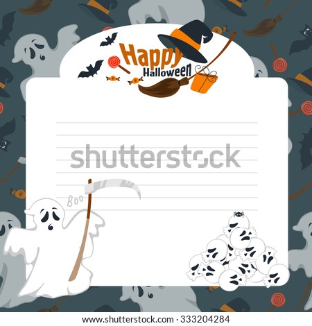 Vector illustration of frame on a dark background for the holiday Halloween, card, postcard, banner. - stock vector