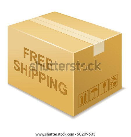 vector illustration of free shipping icon - stock vector