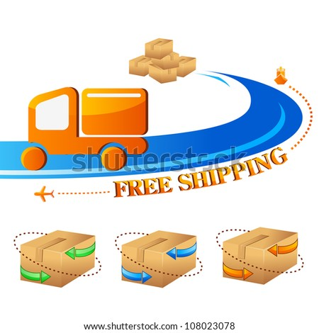 vector illustration of free shipping trolley with carton box - stock vector