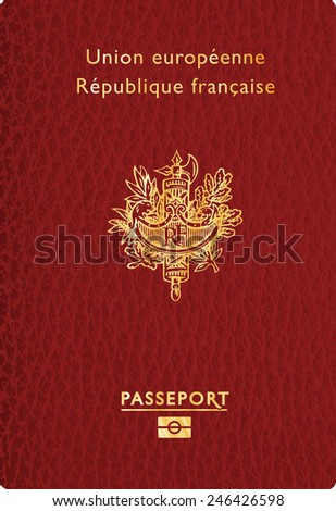 vector illustration of french leather passport - stock vector