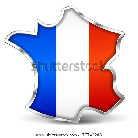 vector illustration of french map icon on white background - stock vector