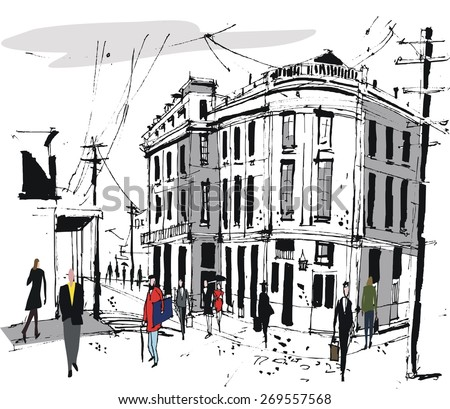 Vector illustration of French style old buildings, and pedestrians. - stock vector