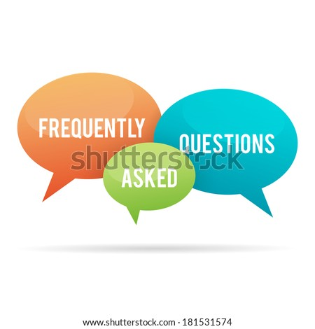 Vector illustration of frequently asked questions, or FAQ, talk bubbles. - stock vector