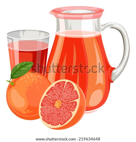Vector illustration of fresh grapefruit juice in glass and jar. - stock vector