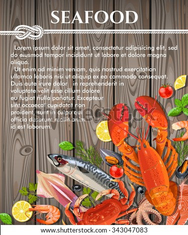 Vector illustration of fresh seafood on wooden background with copy space